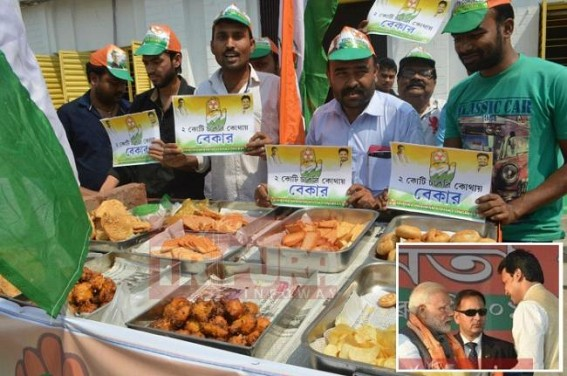 'PAKODA-JOB' Vs. BJP's Vision : Unemployed Youths demand jobs from Tripura CM