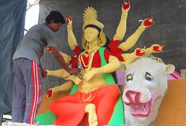 A artist making Durga at Shib Bari in Agartala. TIWN Pic Sept 16