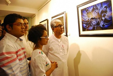 CM visiting an art exhibition at Agartala city centre. TIWN Pic July25