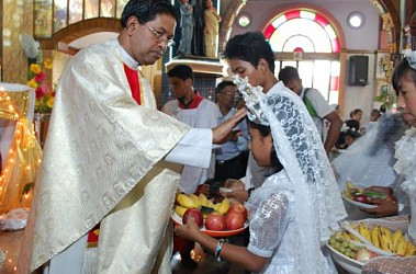 Christians celebrating Easter Day at Don Bosco School Church at Agartala. TIWN Pic April 20