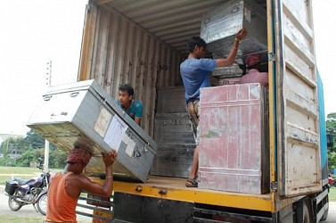 EVM machines are being taken to Hyderabad from Agartala. TIWN Pic Oct 27