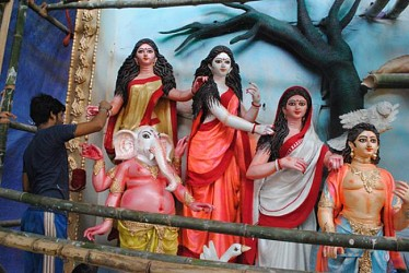 Goddess Durga Idols at Ajad Hind Club, Agartala. TIWN Pic Sept 18
