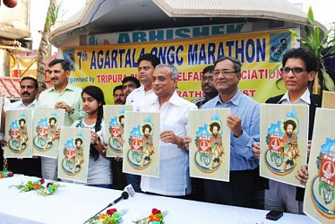Minister Sahid Chowdhury released the logo of Agartala ONGC  Marathan. TIWN Pic March 7