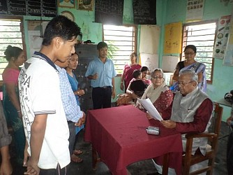 Governor Acharya at Kalyanpur Bairagipara school after emergency landing. TIWN Pic August 19
