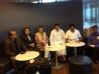 MP Jiten with Textiles Minister Santosh Gangwar at Frankfurt Airport. TIWN Pic Oct 26