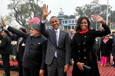 PM Modi,US President Obama, First lady Michelle Obama at R-Day,New Delhi. TIWN Pic Jan 26