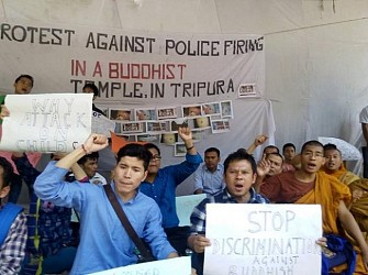 Chakma community protest at Jantar Mantar, Delhi against Tripura Police firing. TIWN Pic April 24