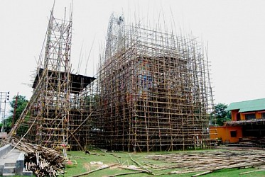 Construction of Durga Puja Pandal underway at Usha Bazaar . TIWN Pic Aug 25