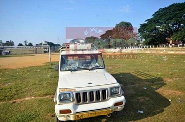 Vehicles damaged during IPFT's violence at Agartala on August 23. TIWN Pic Aug 24
