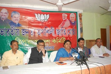 BJP SC morcha held press meet at party office.TIWN Pic Dec 3