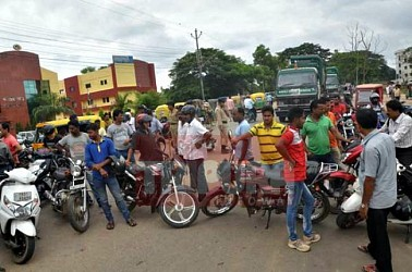 Consumers hit streets in demand of petrol at Radhanagar. TIWN Pic July 26