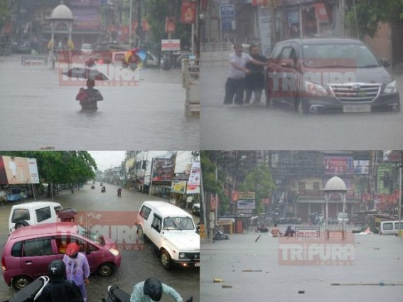 Agartala City paralyzed as rain hits Northeast since morning : waist level water across the City, resentments brew among the common men
