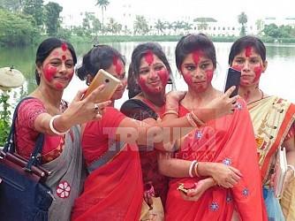 Women assembled at Laxmi Narayan Bari to celebrate Ambubachi. TIWN Pic June 22