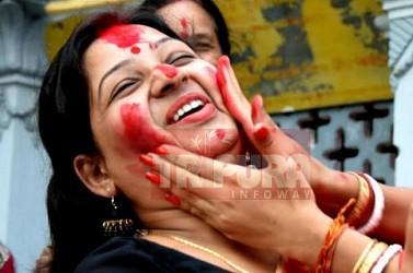 Women celebrating Ambabachi rituals at Agartala Laxmi Narayan Bari temple. TIWN Pic June 22