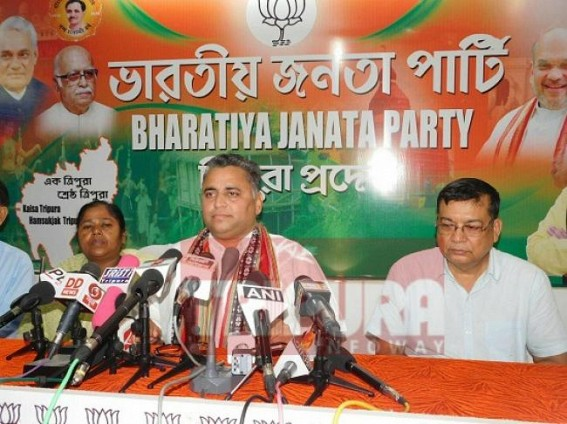 Sunil Deodhar addressing media at BJP Office. TIWN Pic July 17