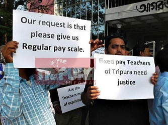 TET Qualified Teachers protesting in front of Agartala Press Club. TIWN Pic Dec 16