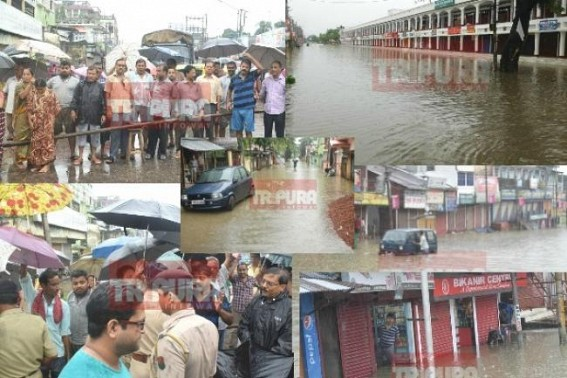 Locals protest against 'Smart City' Agartala's pathetic condition, Tripura capital turns 'Drainwater Lake' after splash of rain : Demand helicopter-hopping CM's action plan