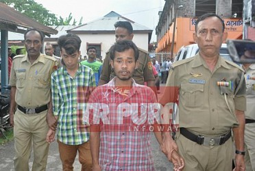 Police arrested 2 accused persons (Bikash Debbarma and Shyamal Debbarma) in Journalist Santanu Bhowmik murder case. TIWN Pic Sep 21