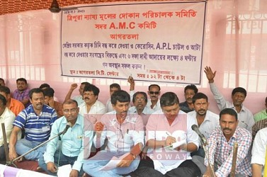 Ration dealers held protest at City Centre. TIWN Pic April 28