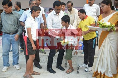 Sports Minister inaugurates swimming-coaching-centre at Agartala. TIWN Pics March 23