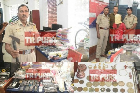 Thief arrested with dangerous arms, 60 mobile phones, laptops, TVs, Gold items : 3 more including one Bangladeshi are in police's radar