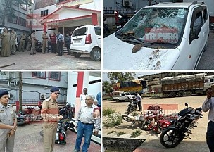 BJP, RSS's attack in CPI-M Party Office during Party meeting, 4 injured : 30 bikes, cars vandalized, FIR lodged, Organized Crimes continue under Biplab Deb's direction