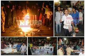 Congress says 'Om-Namo' to PM Modi, burns Modi's dead-body effigy in Rafale scam, Fuel Price hikes