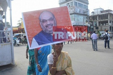 Tripura BJP held protest rally, blamed opposition CPI-M for deteriorating law and order.  TIWN Pic July 17