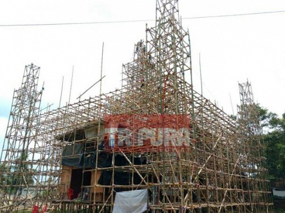 Pandal preparation on peak at Bharat Ratna Club as only 66 days left behind Durga puja