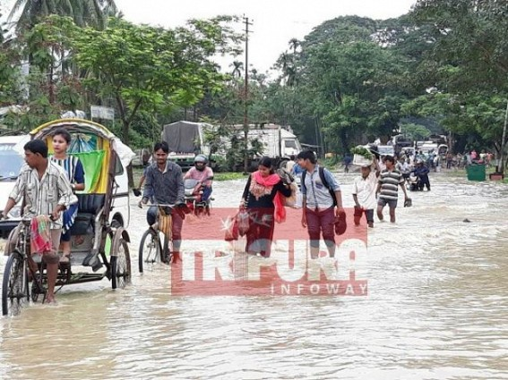 Flood hits various parts of Agartala; damage continues at Howrah river banks