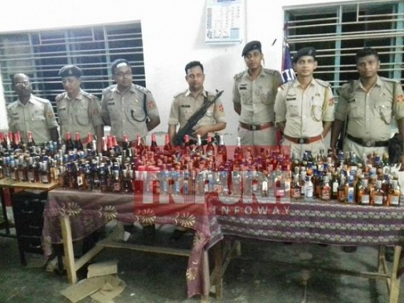 Liquor worth Rs. 50,000 seized by Amtali Police, 3 arrested