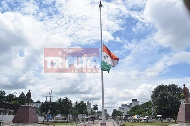 National flag flying half-mast before Rajbari (Agartala) on Vajpayee's death. TIWN Pic Aug 17