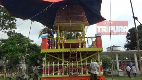 Preparation for Ratha-Yatra on peak at Udaipur
