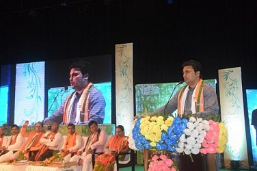 CM addressing at Panchayat level meeting in Rabindra Bhawan. TIWN Pic Sep 13