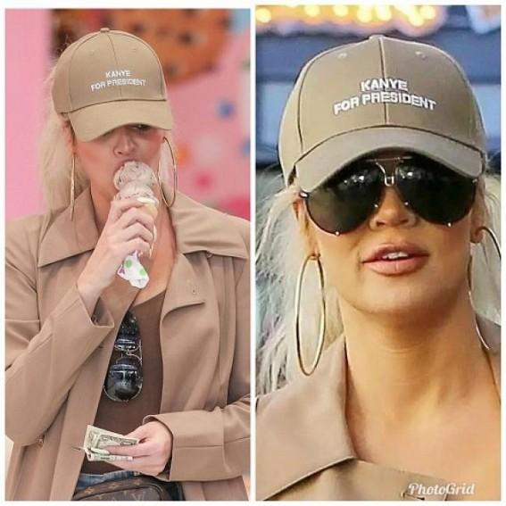 Khloe Kardashian sports 'Kanye for President' cap