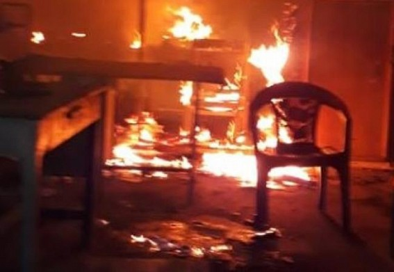 CPI-M Party office burnt on Republic Day