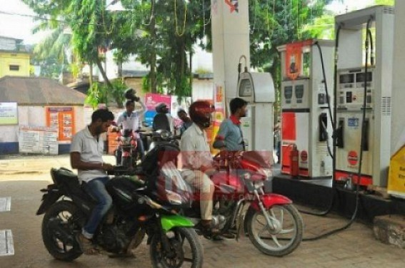 Petrol strict to Rs. 71.26  for 6 days in Tripura