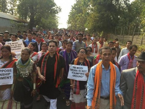 Tiprasa people staged mass protest against Citizenship Bill : 'Tripura is Not a Dumping Ground', agitators raised slogan against Modi, hits BJP's JUMLA cheating