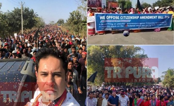Whole Tripura erupts against BJP Govt over Citizenship Bill amid Biplab's 'PET' NC Debbarma's strong objection : Black Flags mark BJP's 'Dark Era', Massive protest by TIPRASA Statewide