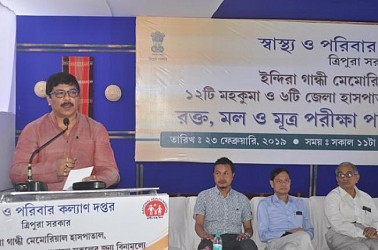 Free medical tests started in Tripura, Health Minister addressing the public. TIWN Pic Feb 23