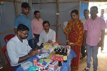 Health camp organized at Agrtala by Ayurvedic students association. TIWN Pic April 19