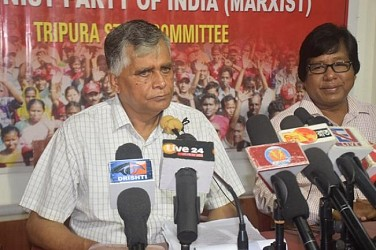 CPI-M State General Secretary Gautam Das addressing media. TIWN Pic June 16