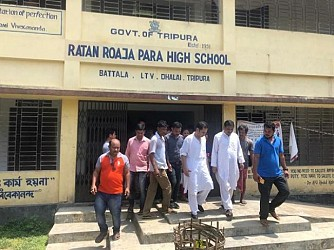 Congress State President Pradyot Manikya visited Ratan Roaza Para High School . TIWN Pic June 19