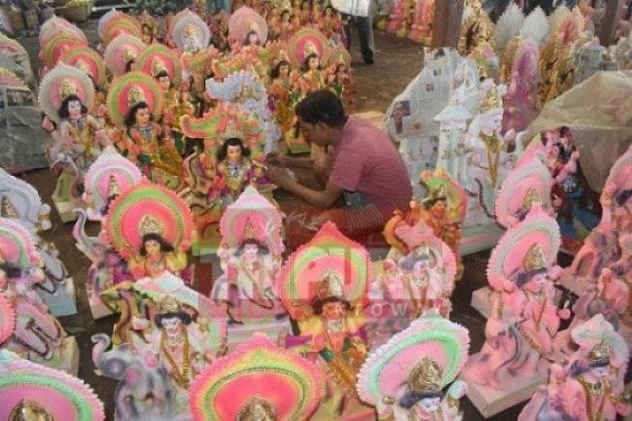 Artisans busy in making idols for upcoming Biswakarma Puja and Durga Puja