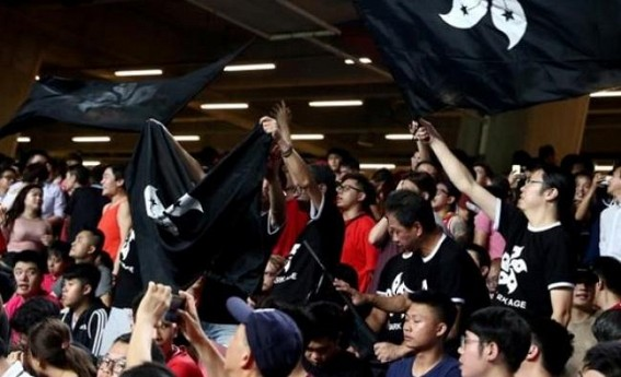 Hong Kong spectators boo Chinese anthem at football stadium