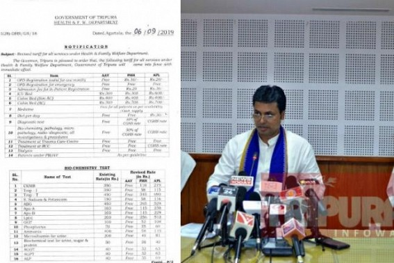 Tripura BJP Govt's Damage-Control after Scrapping Free Medical Service in Govt Hospitals : Biplab Deb claims, 'OT, Gastrotope, Oxygen etc will remain free, prices were put by drafting-mistake', blames Media, Opposition