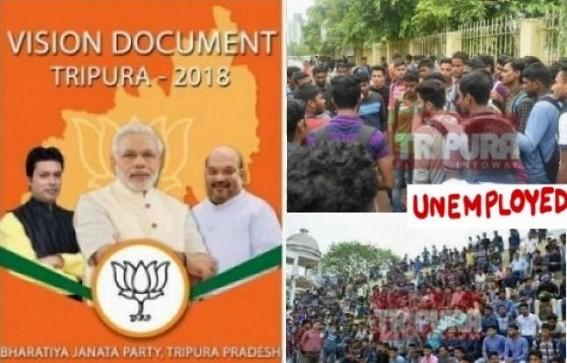 Unemployment problems under BJP Govt soaring triple than CPI-M era in Tripura : BJP's Vision Document Promise of 50,000 Govt jobs in 1-year forgotten