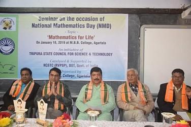 National Mathematics Day celebrated in Agartala, Minister Sudip Barman addressing students. TIWN Pic Jan 18