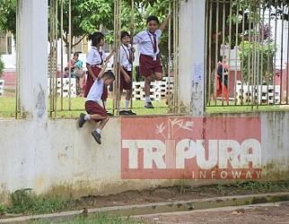 Boundary wall collapsed in Sishu Bihar school, turned risky for children. TIWN Pic Aug 23