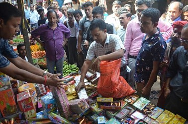 All sound crackers seized in a joint raid held in Agartala markets to ensure a noise pollution free Laxmi puja. TIWN Pic Oct 13